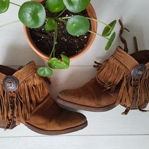 Suede Fringe Boho Festival Cowboy Ankle Boots